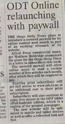 "The ODT not exactly over-selling the ""exciting relaunch"" of its website in last Tuesday's paper."