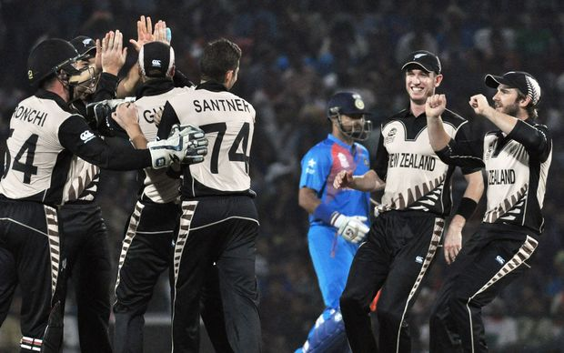 The Black Caps celebrate a wicket in their win over India at the T20 World Cup.