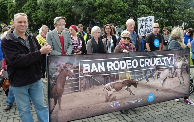 Protesters, who want rodeo to be banned, presented a petition to parliament.