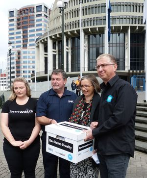 Jasmine Gray from Farmwatch, left, SPCA chief executive Ric Odom, Green Party MP Mojo Mathers and Hans Kriek from SAFE. Animal welfare advocates presented a petition to parliament asking them to ban rodeo.