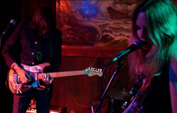 Brian and Maryrose Crook of The Renderers performing at the Redwood Lounge, Los Angeles 2014.