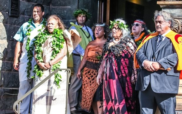 Ceremony at Hawaii's Bishop Museum welcoming the return of Captain Cook's feather cloak.