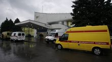 Ambulances outside the airport after the crash of a FlyDubai Boeing aircraft in Rostov-on-Don.