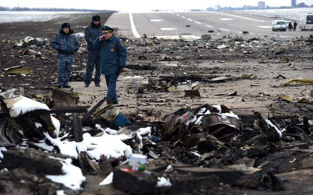 The scene of the crash at Rostov-on-Don