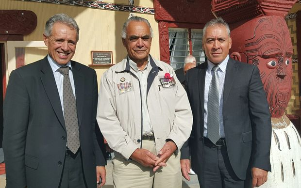 Māori Land Court chief judge Wilson Isaac, left, veteran Hirini Henare, centre, and New Zealand military historian Monty Soutar at Otiria Marae on 21 March 2016.