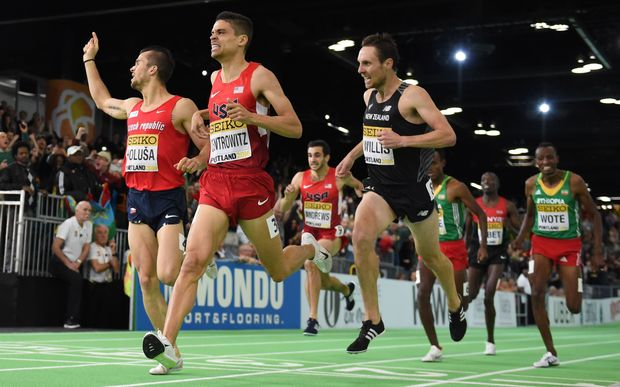 Nick Willis third at the 2016 World Indoor Athletics Champs.