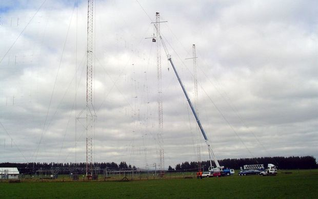 The RNZ radio antenna near Taupo. If the steel bars failed, the five masts they help support would fall.