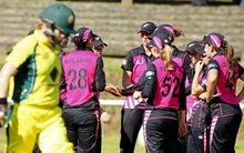 The White Ferns celebrate a wicket against Australia in the World T20 in India.