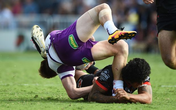 This tackle from James Gavet on the Melbourne Storm's Cameron Munster was put on report.