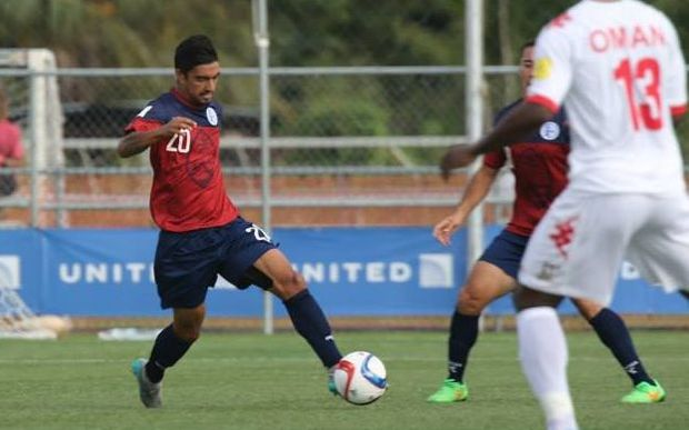 Guam's AJ DeLaGarza in action against Oman during the Matao's World Cup qualifying campaign.