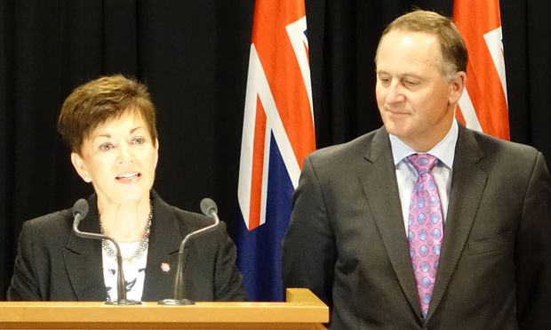 Dame Patsy Reddy, left, with Prime Minister John Key at the announcement she will be the new Governor-General of New Zealand.