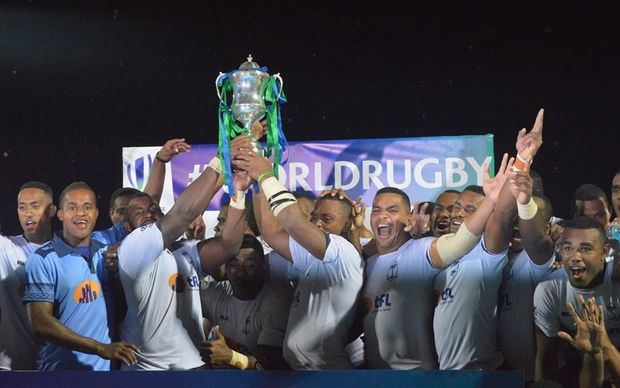 Fiji Warriors celebrate winning the 2016 World Rugby Pacific Challenge.
