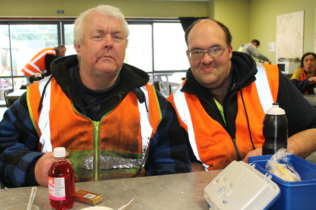 A photo of recycling team members, Ian Thompson and Andrew Doak taking a break in the canteen