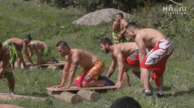 Action from the Maori TV's physical game show 'game of Bros'