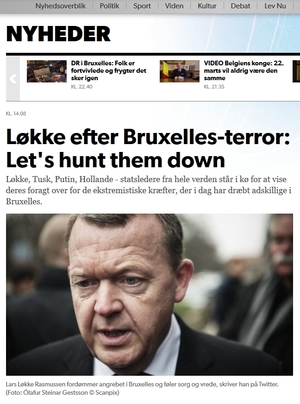 Danish media reacts to the PM's angry comments on the Brussels bombings.