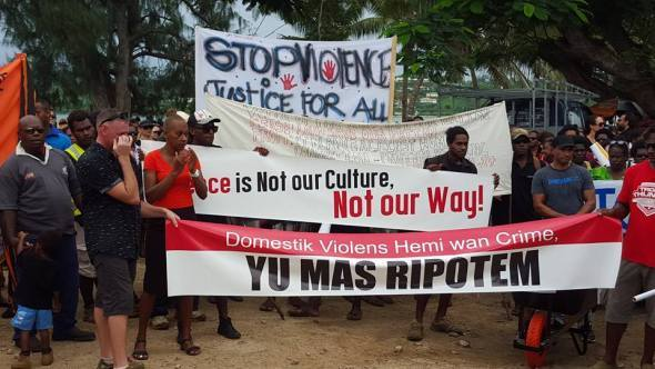 Hundreds march in Port Vila to demand an end to violence against women in Vanuatu.