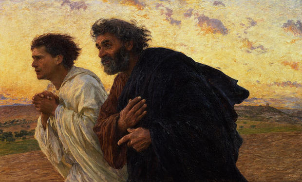 Apostles Peter and John hurry to the tomb on the morning of the Resurrection - Eugène Burnand c.1898