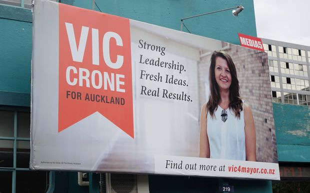 One of mayoral candidate Victoria Crone's billboards.