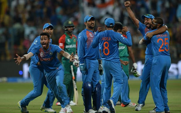 The Indian cricket team celebrate their win over Bangladesh at the World Twenty20.