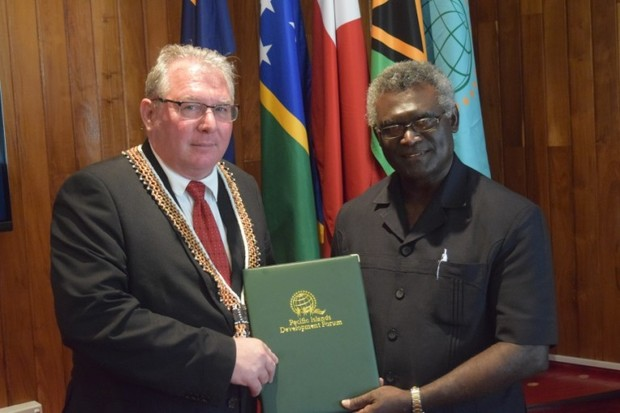 The Pacific Islands Development Forum Secretariat's Secretary General, François Martel, meeting with Solomon Islands Prime Minister, Manasseh Sogavare.