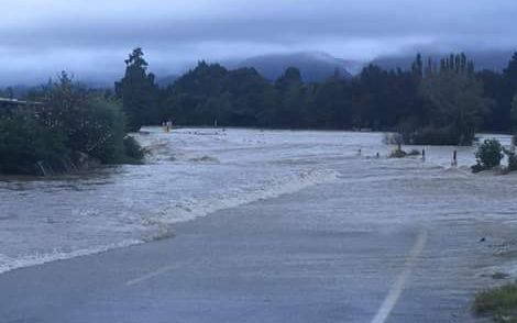 Flooding near Takaka in the Tasman District.