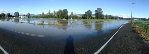 Flooding near the Takaka township.