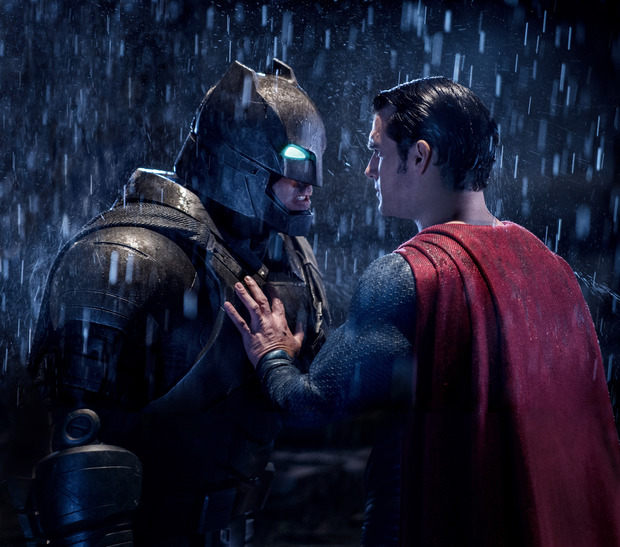 Batman (Ben Affleck) shares a moment with Superman (Henry Cavill) in Zack Snyder's Batman v Superman: Dawn of Justice