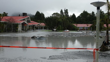 Guests have been allowed back into the Mueller Scenic Hotel in Franz Josef, which is still flooded, to collect their belongings.