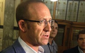Andrew Little speaking to media after the vote.
