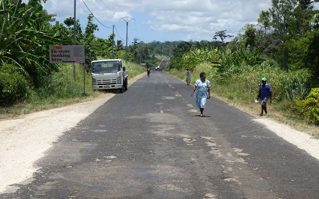 The road through Teouma, a rural area on Vanuatu's main island of Efate.