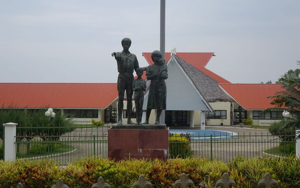 A statue at the entrance to Vanuatu's parliament in the capital, Port Vila.