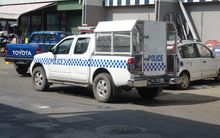 A Vanuatu police truck in the capital, Port Vila.