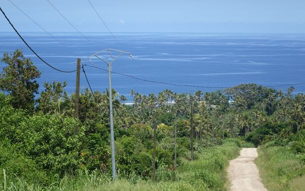 Rebuilt power lines on the Vanuatu island of Tanna. Most of the network was wiped out by cyclone Pam in March 2015.
