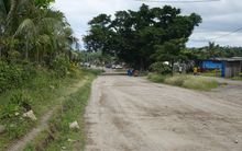 The main road through Lenakel, the largest town on the Vanuatu island of Tanna.