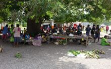 Fresh produce on sale at the main market in the Vanuatu town of Lenakel, on Tanna island.