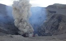 The constantly erupting crater of Mt Yasur, on the Vanuatu island of Tanna.