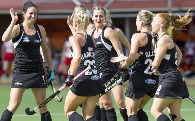 The Black Sticks celebrate a goal.