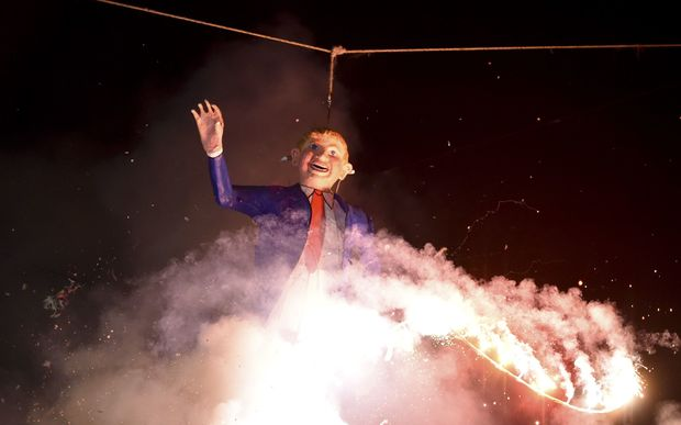Mexican's set fire to an effigy of US Republican presidential candidate Donald Trump in Mexico City during Holy Week celebrations.