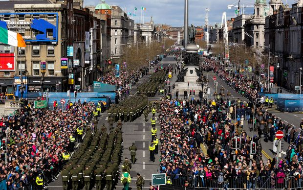 Members of the Irish security services march through central Dublin as part of the commemorative events to mark the 100th anniversary of the Easter Rising.