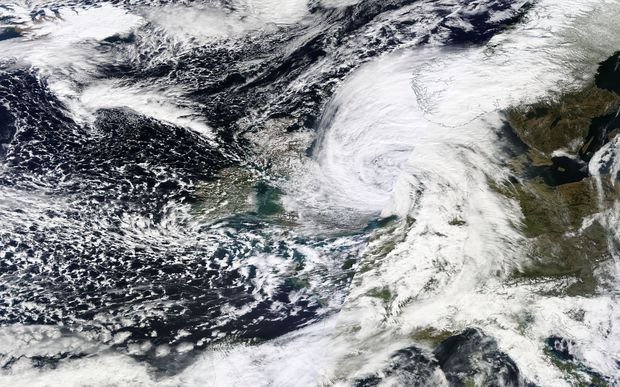 A satellite image retrieved from Nasa's Earth Observing System Data and Information System shows Storm Katie just off the southeast coast of Britain after passing over southern England.