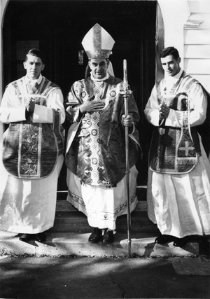 Fr David Gledhill (Right ) on his ordination.  1966. With him are Bishop Ashby and Fr John Crispin.