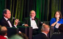 Australia's newly-appointed chief scientist, Alan Finkel, in discussion with New Zealand's chief science advisor, Sir Peter Gluckman.