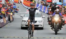 Jesse Sergeant wins a stage on the Tour de Flanders last year before he was knocked down by a service vehicle.