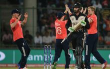 Martin Guptill dismissed in World T20 semi-final 2016.