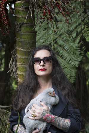 Fiona Pardington with Oyster (Araucana Cockerel), 2015