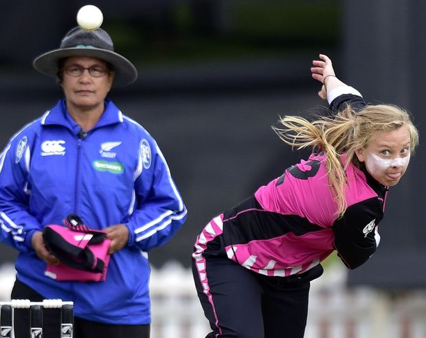 New Zealand's Leigh Kasperek bowls during the 2nd Women's T20 International - New Zealand v Australia cricket match at the Basin Reserve in Wellington.