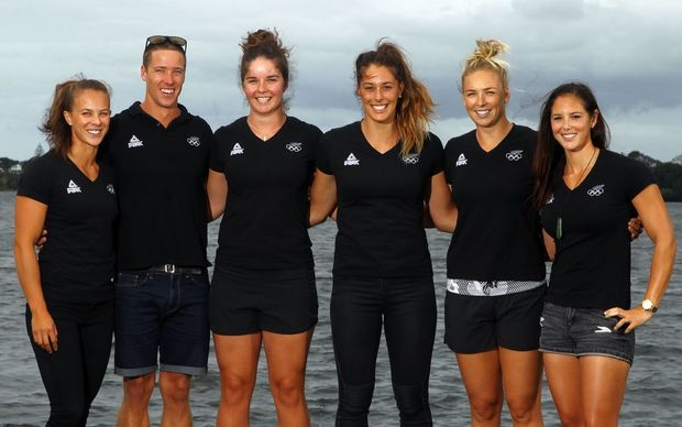 (L to R) Lisa Carrington, Marty McDowell, Aimee Fisher, Kayla Imrie, Caitlin Ryan and Jaimee Lovett, New Zealand Olympic Canoe Sprint Team Announcement, North Shore Canoe Club, Auckland, 31 March 2016. Copyright Image: William Booth / www.photosport.nz