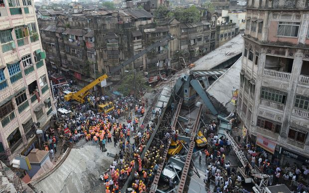 The flyover collapsed on to a busy city road