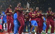 West Indies players celebrates after winning against India. ICC T20 World Cup 2016.