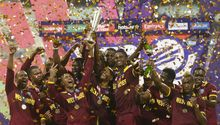 The West Indies celebrate their T20 World Cup success.